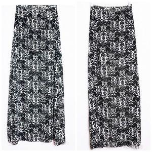 Show Me Your Mumu Black White Maxi Mick Slit Skirt